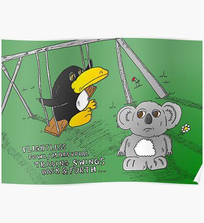 binary options news cartoon of penguin and koala Poster