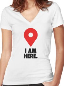I AM HERE. - Version 2 Women's Fitted V-Neck T-Shirt