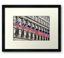 Row of American flags Framed Print