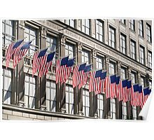 Row of American flags Poster