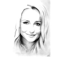 Hayden Panettiere pencil portrait Photographic Print