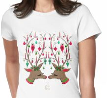 """Mid-Century Ornamented Reindeer""© Womens Fitted T-Shirt"