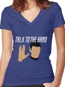 Talk to the Vulcan Hand Women's Fitted V-Neck T-Shirt