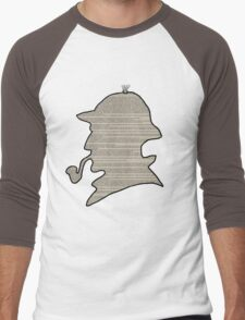 Sherlock Newspaper Silhouette  Men's Baseball ¾ T-Shirt