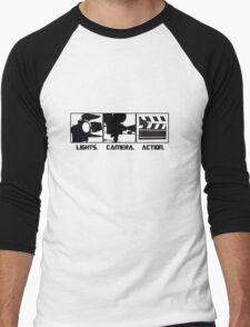 Lights.Camera.Action. Movie Maker T-Shirt Men's Baseball ¾ T-Shirt