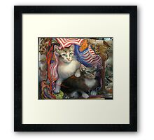 Completed painting...Kittens Day At The Beach Framed Print