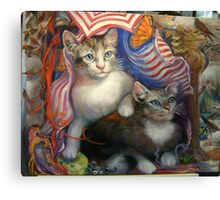 Completed painting...Kittens Day At The Beach Canvas Print