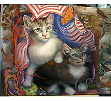 Completed painting...Kittens Day At The Beach Photographic Print