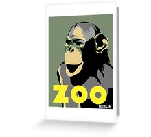 Retro Zoo Berlin monkey travel advertising Greeting Card