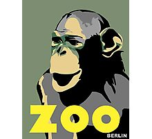 Retro Zoo Berlin monkey travel advertising Photographic Print