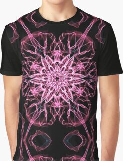 Pink Pink flower on Black Graphic T-Shirt