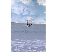 two surfers windsurfing in a storm Photographic Print