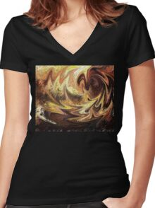 Terrestrial Brush Strokes  Women's Fitted V-Neck T-Shirt