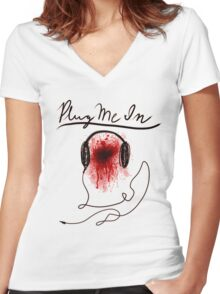Plug Me In Women's Fitted V-Neck T-Shirt