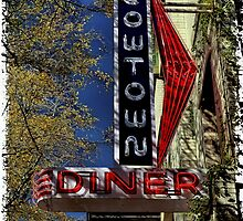 Cowtown Diner Sign iPhone 4 Case by Warren Paul Harris
