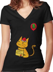 Merry Christmas Manga Cat wth red balloon, hand drawn Women's Fitted V-Neck T-Shirt