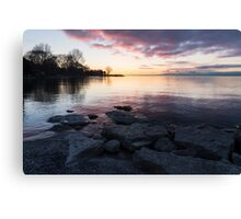 Pink and Gray Placidity - Morning Zen on the Lake Canvas Print