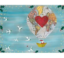 Christmas Santa Claus in a Hot Air Balloon for Peace Photographic Print