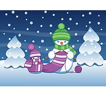 Knitting Snowman Photographic Print