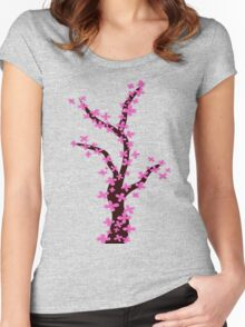 Cherry Blossom on Pink Women's Fitted Scoop T-Shirt