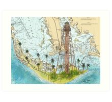 Sanibel Island Lighthouse FL Nautical Chart Peek Art Print