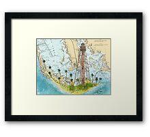 Sanibel Island Lighthouse FL Nautical Chart Peek Framed Print