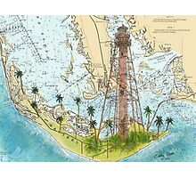 Sanibel Island Lighthouse FL Nautical Chart Peek Photographic Print