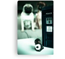 Polymer Pommie & The Tardis Canvas Print