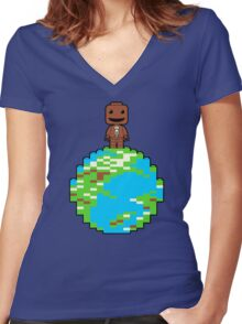 LITTLE BLOCK PLANET Women's Fitted V-Neck T-Shirt