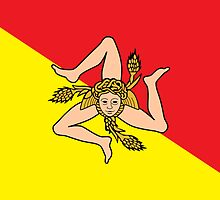 Sicilian Bandiera - Flag of Italian Island Sicily - T-Shirt Bedspread by deanworld