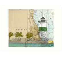 Chicago Harbor SE Guidewall Lighthouse IL Map Peek Art Print