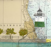 Chicago Harbor SE Guidewall Lighthouse IL Map Peek by Cathy Peek