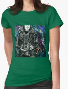 Leather Twin Lens Womens Fitted T-Shirt