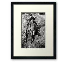 Boy by River Framed Print