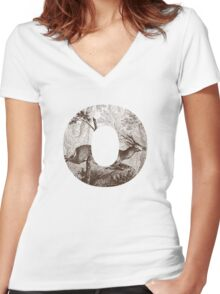 O Deer Women's Fitted V-Neck T-Shirt