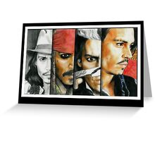 Different shades of Johnny Depp Greeting Card