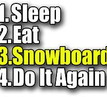 Snowboard T-Shirt - Snowboarder Sticker Decal Sleep Eat Play by deanworld