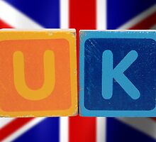 uk and flag in toy letters by morrbyte