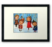 Children playing on the rink Framed Print