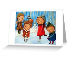 Children playing on the rink Greeting Card