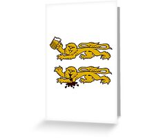 normandie lion normand drunk beer Greeting Card