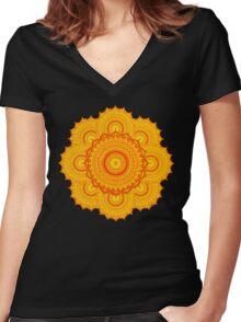omulyana dancing mandala Women's Fitted V-Neck T-Shirt