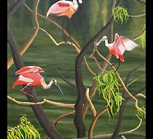 "99. ""Spoonbills Roosting in High Island, Texas."" by amyglasscockart"