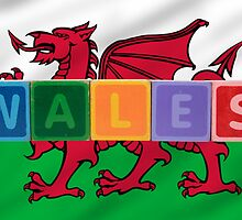 wales and flag in toy block letters by morrbyte