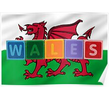 wales and flag in toy block letters Poster