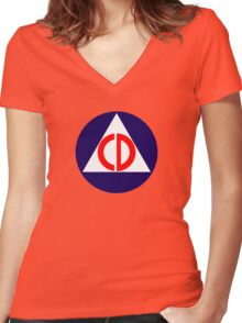 Civil Defence Women's Fitted V-Neck T-Shirt