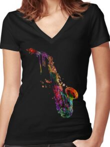 saxophone  Women's Fitted V-Neck T-Shirt