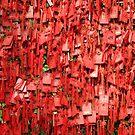 Lots of little prayer tags on a fence by Marjolein Katsma