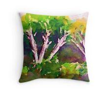 Woodlen scene, watercolor Throw Pillow