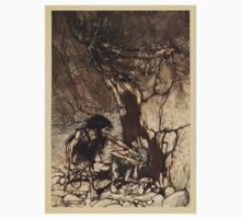 The Rhinegold & The Valkyrie by Richard Wagner art Arthur Rackham 1910 0093 Mime Howling One Piece - Short Sleeve